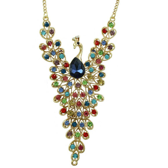 Multi-color Crystal Peacock with Large Blue Crystal Necklace - Lilylin Designs