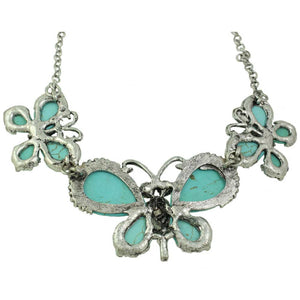 3 Large Turquoise Butterflies with Black Crystal Eyes Necklace (back) - Lilylin Designs