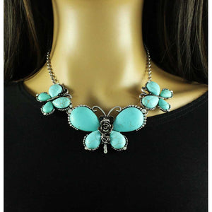 Model with 3 Large Turquoise Butterflies with Black Crystal Eyes Necklace - Lilylin Designs