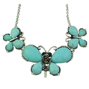 3 Large Turquoise Butterflies with Black Crystal Eyes Necklace - Lilylin Designs