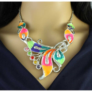 Model with Colorful Enamel and Crystals Calla Lilies Necklace - Lilylin Designs