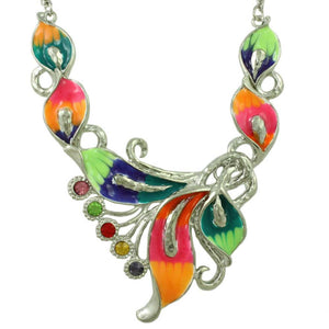 Colorful Enamel and Crystals Calla Lilies Necklace - Lilylin Designs