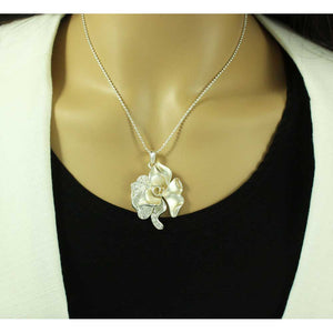 Frosted Silver-tone Crystal Rose Necklace and Earring Gift Set - RSN619BS