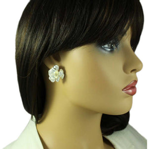Model with Silver-tone Frosted Crystal Rose Pierced or Clip Earring - Lilylin Designs