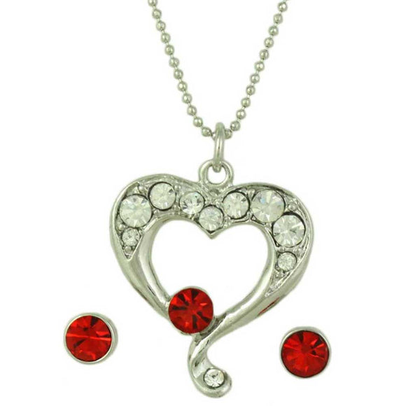 Chain with Crystal Heart Pendant and Red Stud Pierced Earring Set  - Lilylin Designs