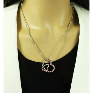Model with Silver Ball Chain with Red Crystal and Inner Silver Heart Pendant - Lilylin Designs