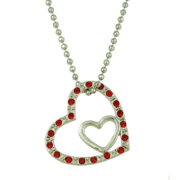 Silver-tone Ball Chain with Red Crystal and Inner Silver Heart Pendant  - Lilylin Designs