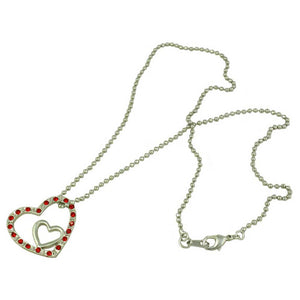 Silver-tone Ball Chain with Red Crystal and Inner Silver Heart Pendant - RSN649