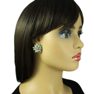 Model with Colorful Enamel and Crystal Flower Pierced or Clip Earring - Lilylin Designs