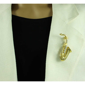 Model with Gold-plated Saxophone with Clear Crystals Music Brooch Pin - Lilylin Designs