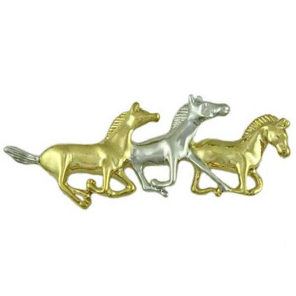 Gold and Silver Running Horses Brooch Pin - Lilylin Designs