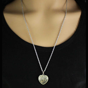 Model with Chain with Clear Quartz Heart Pendant - Lilylin Designs