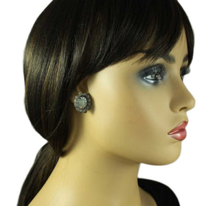Model with Brown Genuine Abalone Shell Sunflower Pierced or Clip Earring - Lilylin Designs