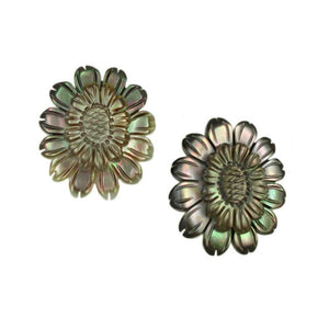Brown Genuine Abalone Shell Sunflower Pierced or Clip Earring - Lilylin Designs
