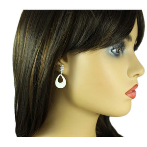 Model with White Mother of Pearl Shell and Crystal Pierced Earring - Lilylin Designs