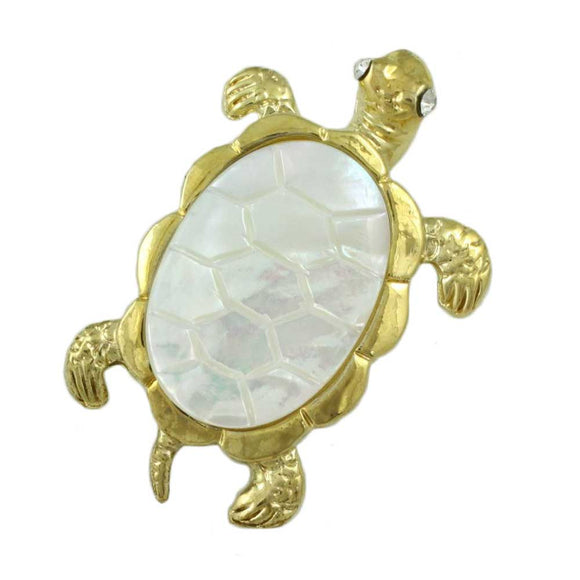 Gold-plated White Mother of Pearl Shell Turtle Brooch Pin - Lilylin Designs