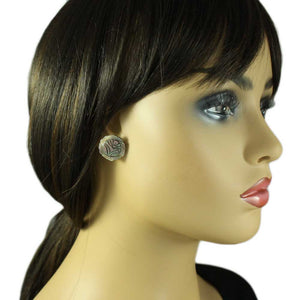 Model with Brown Genuine Abalone Shell Engraved Rose Pierced Earring - Lilylin Designs