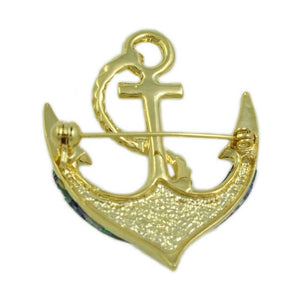 Gold-plated Blue/Green Paua Shell Anchor Brooch Pin (back) - Lilylin Designs