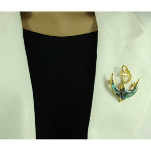 Model with Gold-plated Blue/Green Paua Shell Anchor Brooch Pin - Lilylin Designs