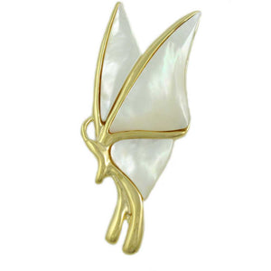 White Mother of Pearl Shell Profile Butterfly Brooch Pin - Lilylin Designs