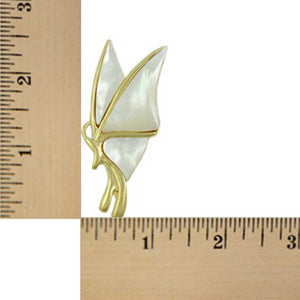 White Mother of Pearl Shell Profile Butterfly Brooch Pin (sized) - Lilylin Designs