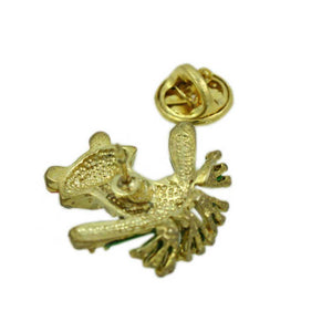Crystal with Green Enamel Frog with Large Red Eyes Tac Pin (back) - Lilylin Designs
