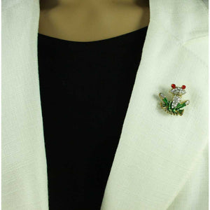 Model with Crystal with Green Enamel Frog with Large Red Eyes Tac Pin - Lilylin Designs