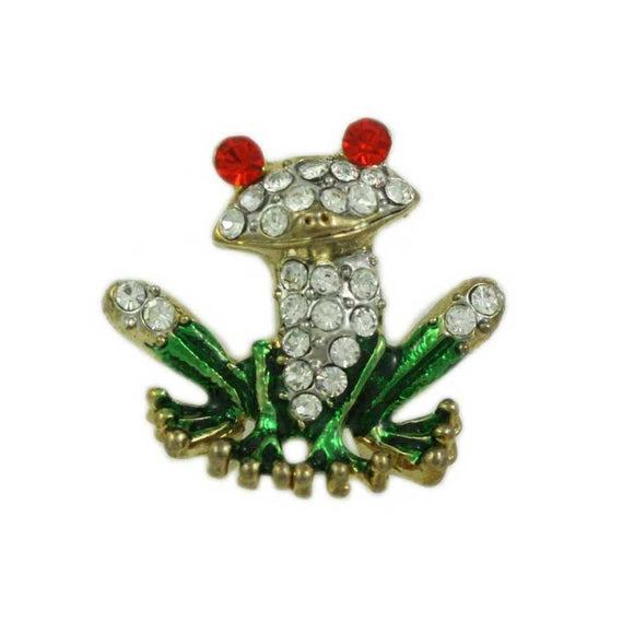 Crystal with Green Enamel Frog with Large Red Eyes Tac Pin - Lilylin Designs