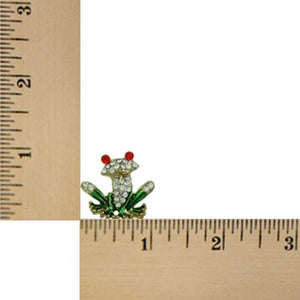 Crystal with Green Enamel Frog with Large Red Eyes Tac Pin (sized) - Lilylin Designs