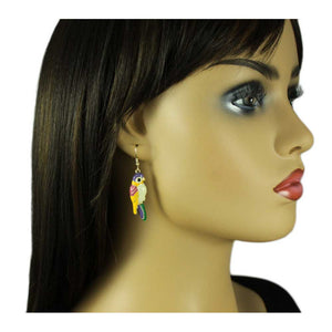 Model with Cream, Yellow and Purple Colorful Enamel Parrot Pierced Earring - Lilylin Designs