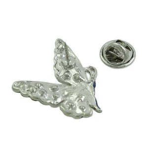 Dark Blue and Gray Enamel with Crystals Butterfly Tac Pin (back) - Lilylin Designs