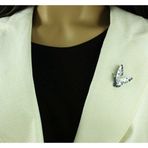 Model with Dark Blue and Gray Enamel with Crystals Butterfly Tac Pin - Lilylin Designs