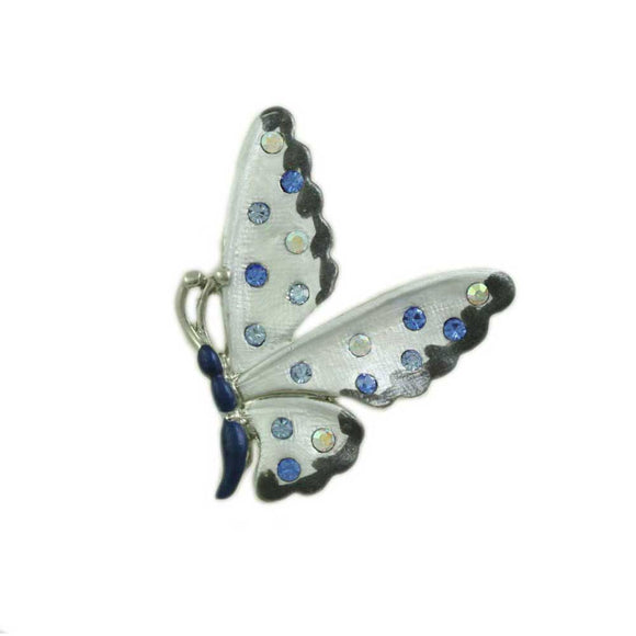 Dark Blue and Gray Enamel with Crystals Butterfly Tac Pin - Lilylin Designs