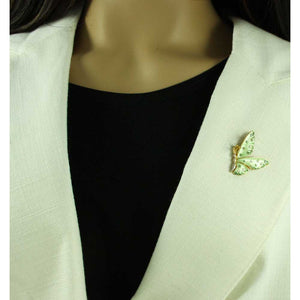 Model with Light Green Enamel and Crystal Profile Butterfly Tac Pin - Lilylin Designs