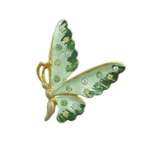 Light Green Enamel and Crystal Profile Butterfly Tac Pin - Lilylin Designs