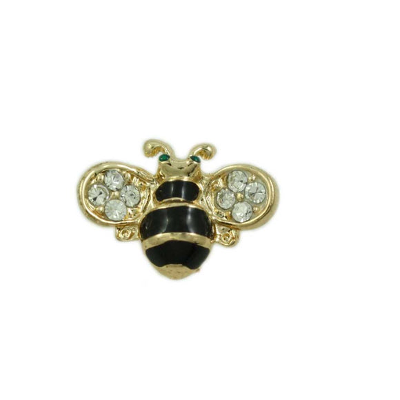 Black and Gold Striped Bee with Crystal Wings Tac Pin - Lilylin Designs