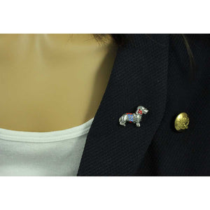 Model with Red and Blue Crystal Patriotic Dog Tac Pin - Lilylin Designs