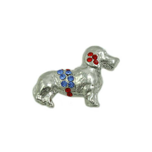 Red and Blue Crystal Patriotic Dog Tac Pin - Lilylin Designs