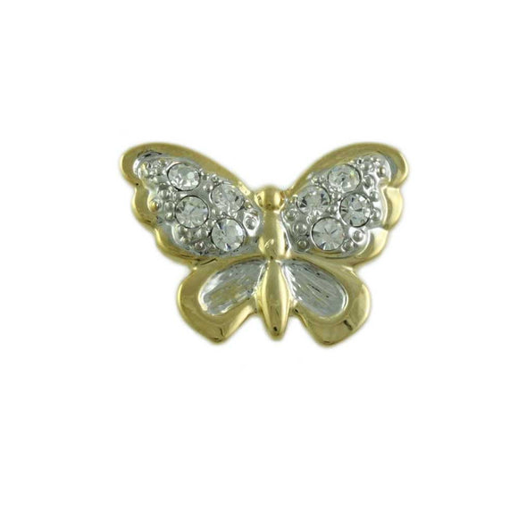 Small Gold with Clear Pave Crystals Butterfly Tac Pin - Lilylin Designs