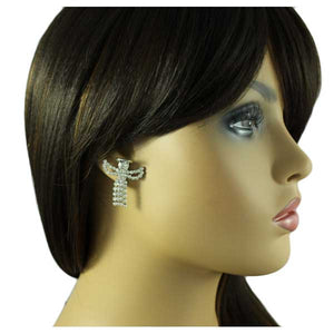 Model with Crystal Angel with Clear Crystal Swinging Dress Pierced Earring - Lilylin Designs
