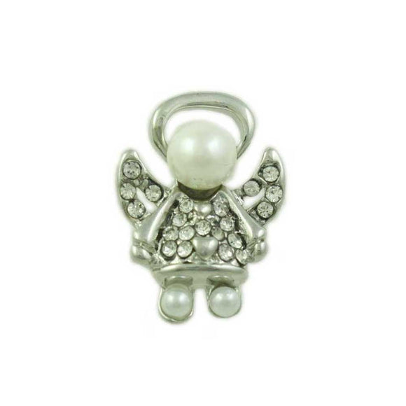Small Silver Pearl Head Crystal Angel Tac Pin - Lilylin Designs