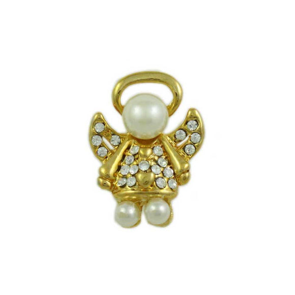 Small Gold Pearl Head Crystal Angel Tac Pin - Lilylin Designs