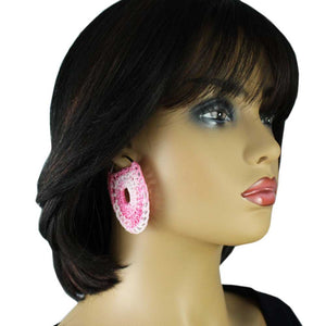 Model with Pink and White Large Hoop with Crochet Center Pierced Earring - Lilylin Designs