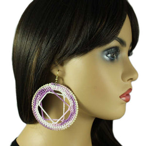 Model with Purple and White Crochet Circle with Star Motif Pierced Earring - Lilylin Designs