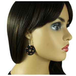 Model with Black Crochet Circle with Gold Beads Dangle Pierced Earring - Lilylin Designs