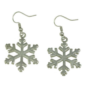 Silver with Clear Crystals Dangling Snowflake Christmas Earring (back) - Lilylin Designs