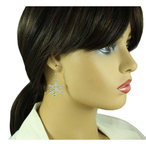 Model with Silver with Clear Crystals Dangling Snowflake Christmas Earring - Lilylin Designs