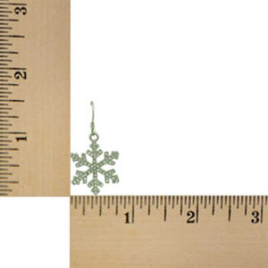 Silver with Clear Crystals Dangling Snowflake Christmas Earring (sized) - Lilylin Designs