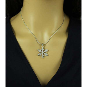 Model with Crystal Snowflake Pendant with Silver Chain Christmas Necklace - Lilylin Designs