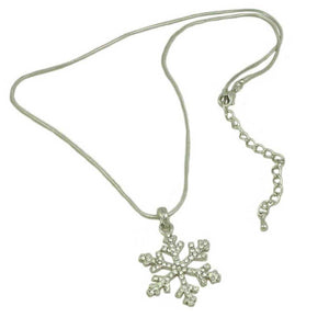 Crystal Snowflake Pendant with Silver Chain Christmas Necklace (full) - Lilylin Designs